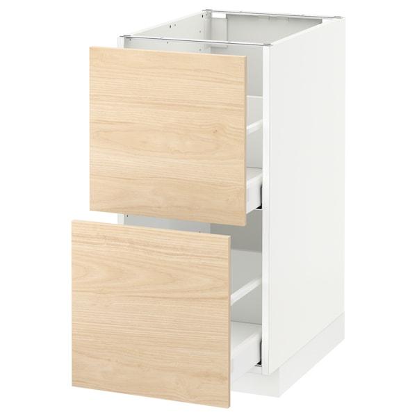 METOD armario bajo cocina 2 cajones blanco/Askersund efecto fresno claro 40.0 cm 61.6 cm 88.0 cm 60.0 cm 80.0 cm