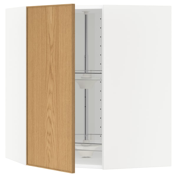 METOD armario de pared esquina, giratorio blanco/Ekestad roble 67.5 cm 67.5 cm 80.0 cm