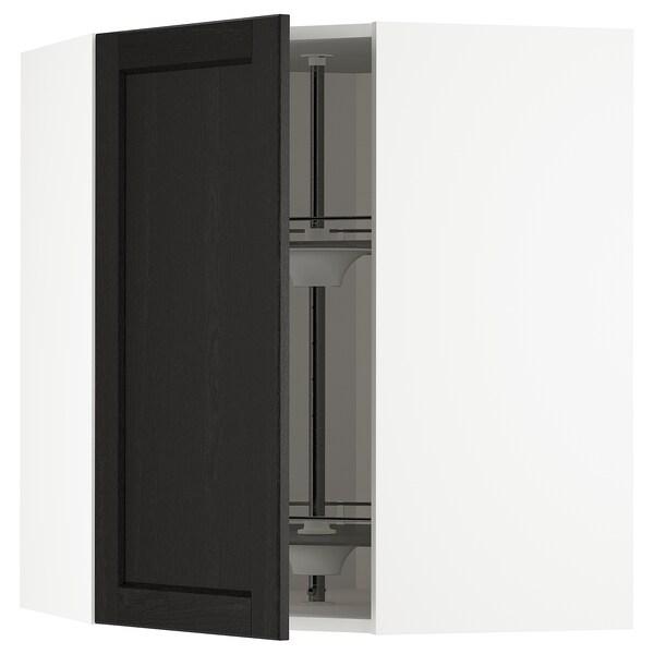 METOD armario de pared esquina, giratorio blanco/Lerhyttan tinte negro 67.5 cm 67.5 cm 80.0 cm