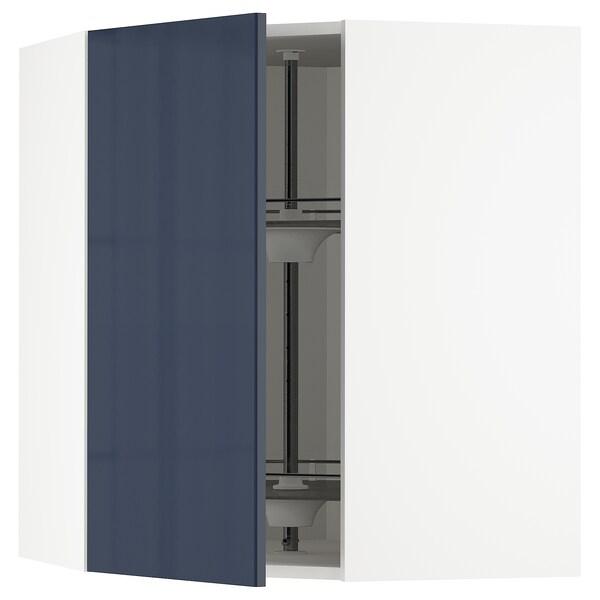 METOD armario de pared esquina, giratorio blanco/Järsta negro-azul 67.5 cm 68.2 cm 80.0 cm