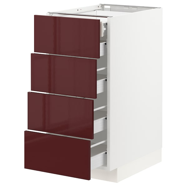 METOD / FÖRVARA armario bajo cocina 5 cajones blanco Kallarp/alto brillo marrón rojizo oscuro 40.0 cm 61.6 cm 88.0 cm 60.0 cm 80.0 cm
