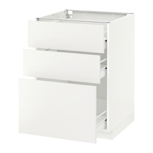 Metod f rvara armario bajo cocina con 3 cajones blanco for Mueble de cajones ikea