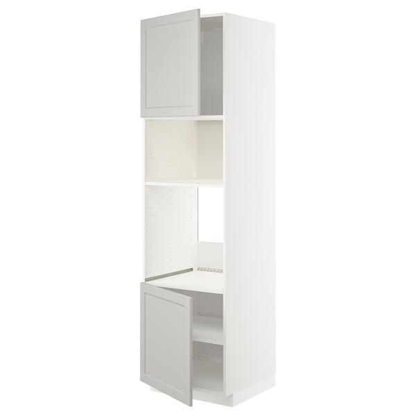 METOD aahorno/micro+2pt/bld blanco/Lerhyttan gris claro 60.0 cm 61.9 cm 228.0 cm 60.0 cm 220.0 cm