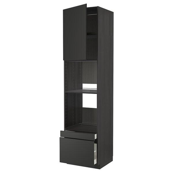 METOD / MAXIMERA Aahorno/combi+pt2cj, negro/Kungsbacka antracita, 60x60x240 cm