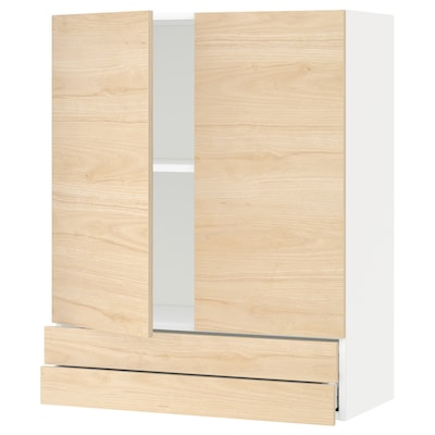 METOD / MAXIMERA Aprd+2pt/2cj, blanco/Askersund efecto fresno claro, 80x100 cm
