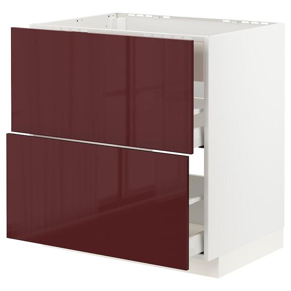 METOD / MAXIMERA Arm bj placa/extractr + cjn, blanco Kallarp/alto brillo marrón rojizo oscuro, 80x60 cm