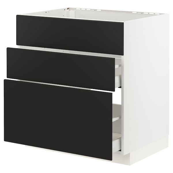 METOD / MAXIMERA Arm bj placa/extractr + cjn, blanco/Kungsbacka antracita, 80x60 cm