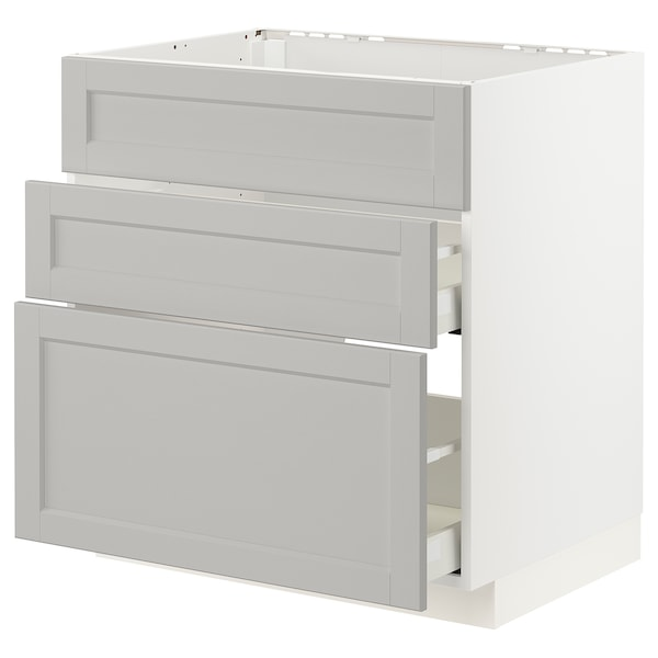 METOD / MAXIMERA Arm bj placa/extractr + cjn, blanco/Lerhyttan gris claro, 80x60 cm