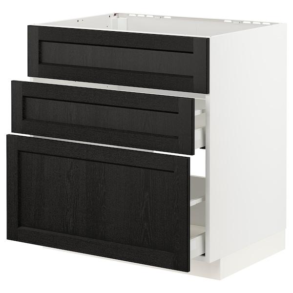 METOD / MAXIMERA Arm bj placa/extractr + cjn, blanco/Lerhyttan tinte negro, 80x60 cm