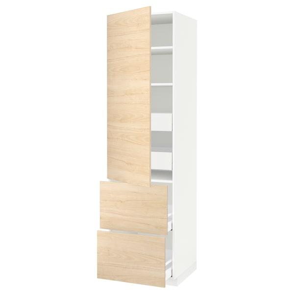 METOD / MAXIMERA Armario 4cajones+2frentes+pt+baldas, blanco/Askersund efecto fresno claro, 60x60x220 cm