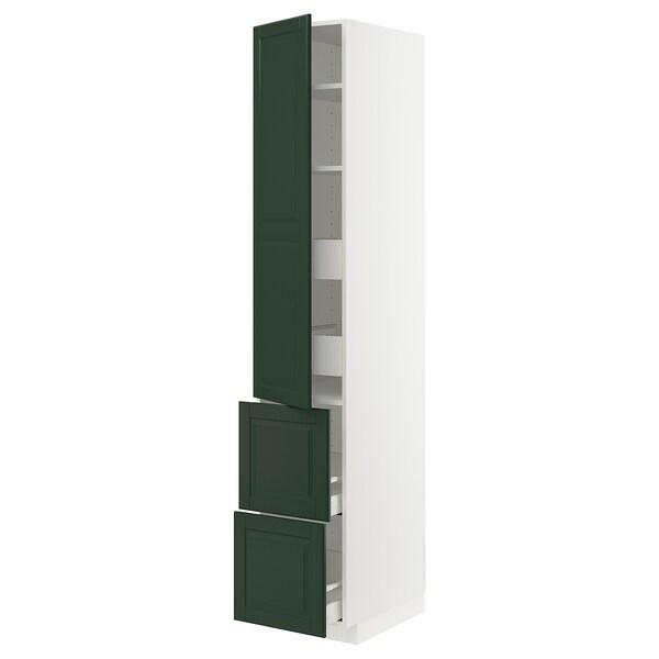 METOD / MAXIMERA Armario 4cajones+2frentes+pt+baldas, blanco/Bodbyn verde oscuro, 40x60x220 cm