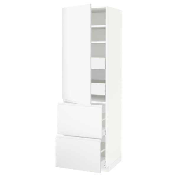METOD / MAXIMERA Armario 4cajones+2frentes+pt+baldas, blanco/Voxtorp blanco mate, 60x60x200 cm