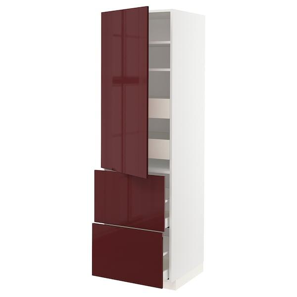 METOD / MAXIMERA Armario alto con puerta y 4 cajones, blanco Kallarp/alto brillo marrón rojizo oscuro, 60x60x200 cm