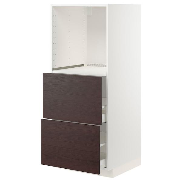 METOD / MAXIMERA Armario alto horno con 2 cajones, blanco Askersund/marrón oscuro laminado efecto fresno, 60x60x140 cm