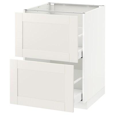 METOD / MAXIMERA Armario bajo cocina 2 cajones, blanco/Sävedal blanco, 60x60 cm