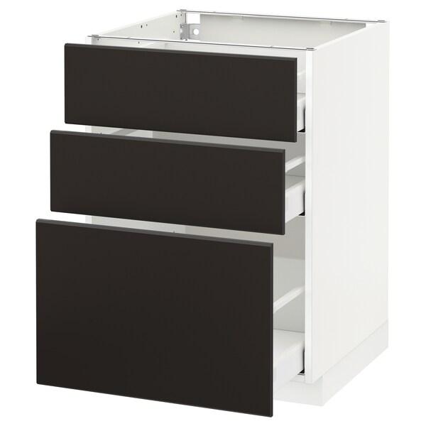 METOD / MAXIMERA Armario bajo cocina con 3 cajones, blanco/Kungsbacka antracita, 60x60 cm