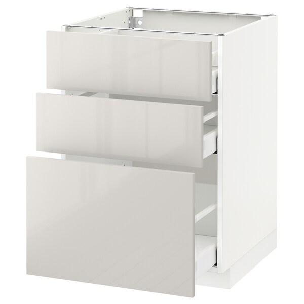 METOD / MAXIMERA Armario bajo cocina con 3 cajones, blanco/Ringhult gris claro, 60x60 cm