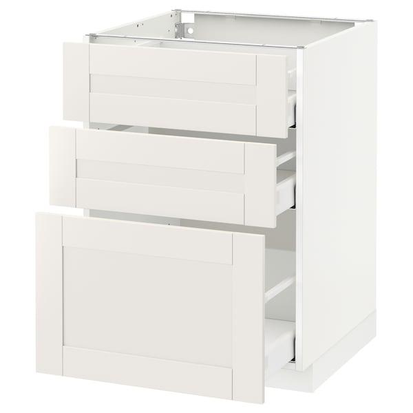 METOD / MAXIMERA Armario bajo cocina con 3 cajones, blanco/Sävedal blanco, 60x60 cm