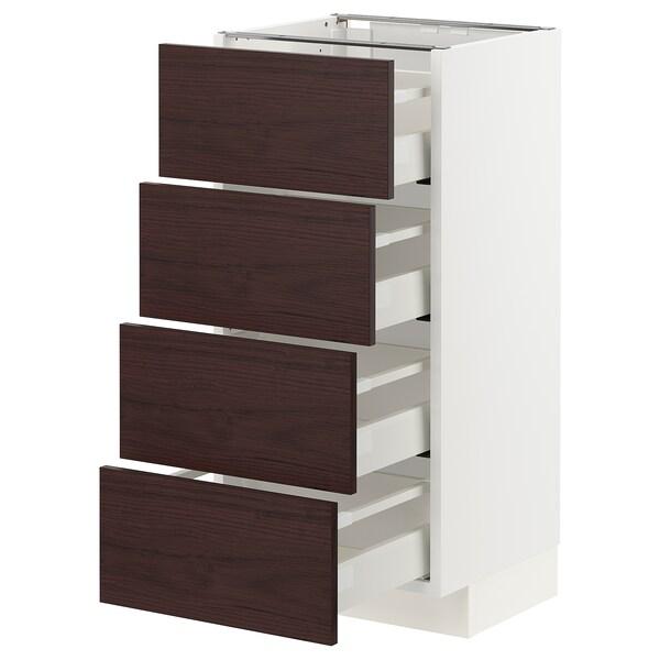 METOD / MAXIMERA Armario bajo cocina con 4 cajones, blanco Askersund/marrón oscuro laminado efecto fresno, 40x37 cm
