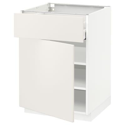 METOD / MAXIMERA Armario bajo con cajón y puerta, blanco/Veddinge blanco, 60x60 cm