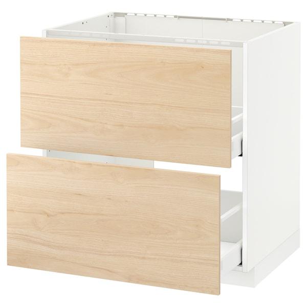 METOD / MAXIMERA Armario bajo fregadero 2 cajones, blanco/Askersund efecto fresno claro, 80x60 cm