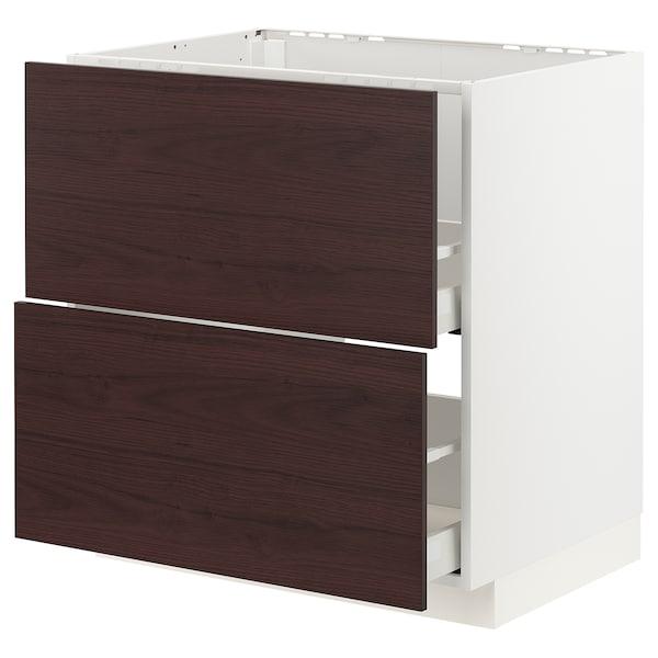 METOD / MAXIMERA Armario bajo fregadero 2 cajones, blanco Askersund/marrón oscuro laminado efecto fresno, 80x60 cm