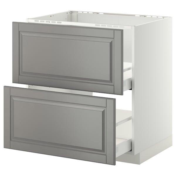 METOD / MAXIMERA Armario bajo fregadero 2 cajones, blanco/Bodbyn gris, 80x60 cm