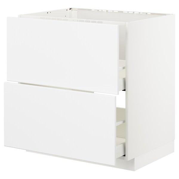 METOD / MAXIMERA Armario bajo fregadero 2 cajones, blanco/Kungsbacka blanco mate, 80x60 cm