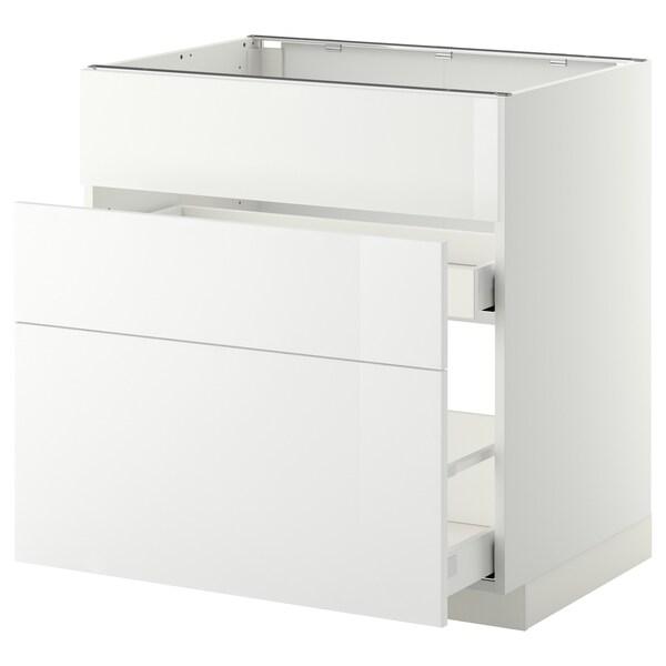METOD / MAXIMERA Armario bajo fregadero 2 cajones, blanco/Ringhult blanco, 80x60 cm