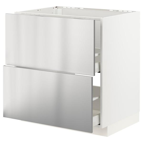 METOD / MAXIMERA Armario bajo fregadero 2 cajones, blanco/Vårsta ac inox, 80x60 cm