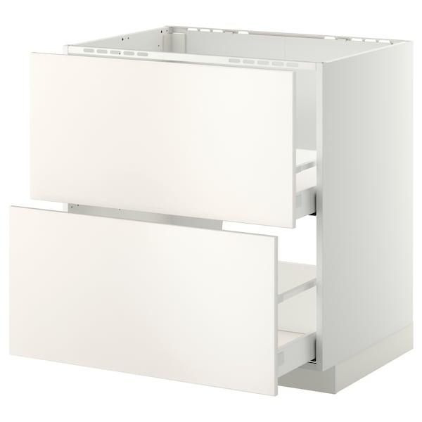 METOD / MAXIMERA Armario bajo fregadero 2 cajones, blanco/Veddinge blanco, 80x60 cm