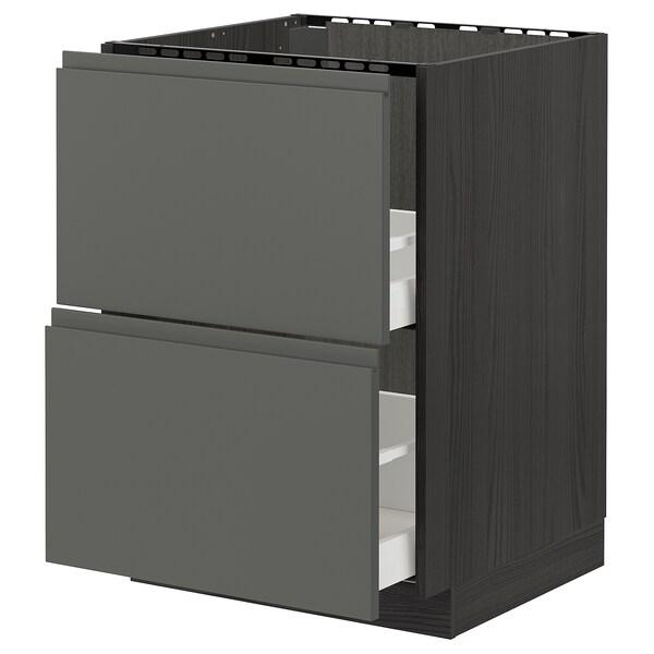 METOD / MAXIMERA Armario bajo fregadero 2 cajones, negro/Voxtorp gris oscuro, 60x60 cm