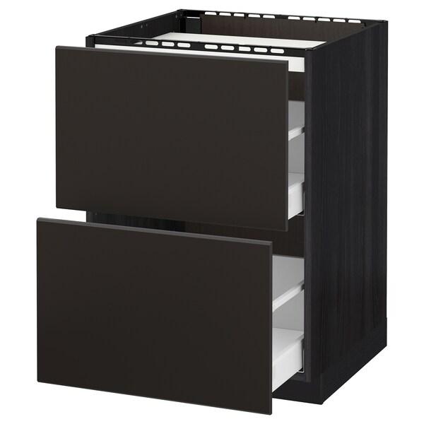 METOD / MAXIMERA Armario bajo para placa 2 cajones, negro/Kungsbacka antracita, 60x60 cm