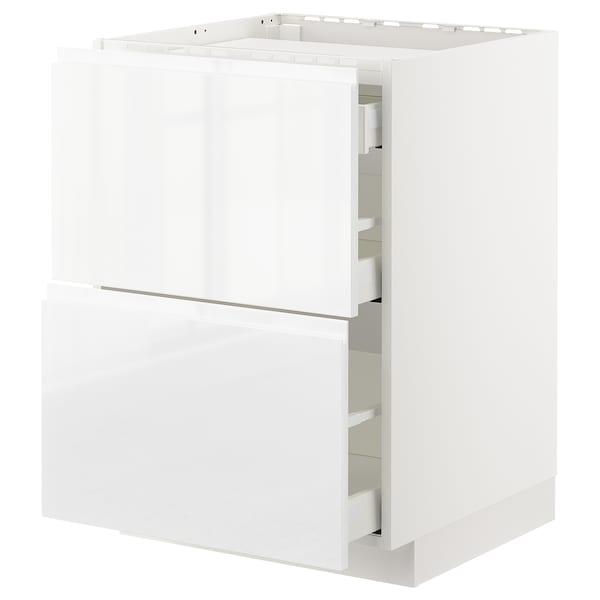 METOD / MAXIMERA Armario bajo para placa 3 cajones, blanco/Voxtorp alto brillo/blanco, 60x60 cm