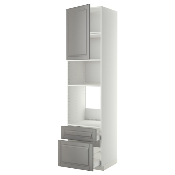 METOD / MAXIMERA Armario horno/micro puerta+2 caj, blanco/Bodbyn gris, 60x60x240 cm