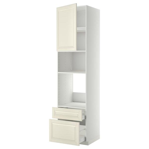 METOD / MAXIMERA Armario horno/micro puerta+2 caj, blanco/Bodbyn hueso, 60x60x240 cm