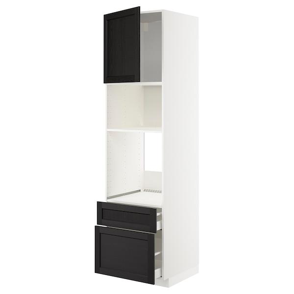 METOD / MAXIMERA Armario horno/micro puerta+2 caj, blanco/Lerhyttan tinte negro, 60x60x220 cm
