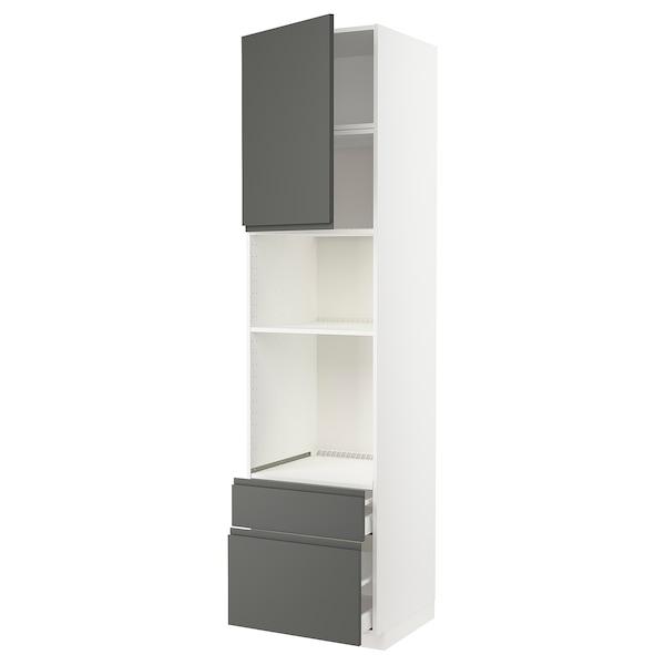 METOD / MAXIMERA Armario horno/micro puerta+2 caj, blanco/Voxtorp gris oscuro, 60x60x240 cm