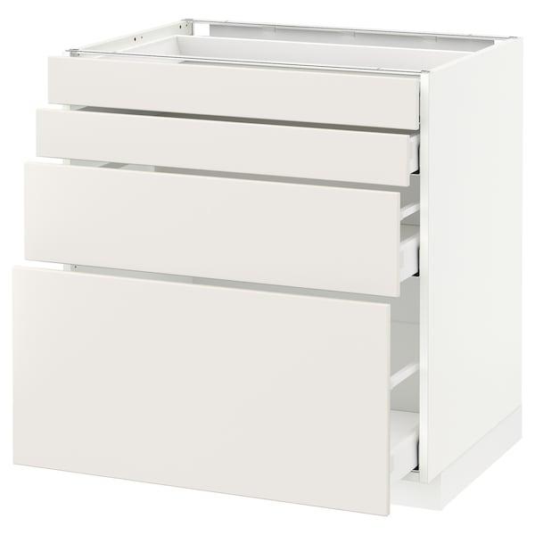 METOD / MAXIMERA armario bajo cocina con 4 cajones blanco/Veddinge blanco 80.0 cm 61.6 cm 88.0 cm 60.0 cm 80.0 cm