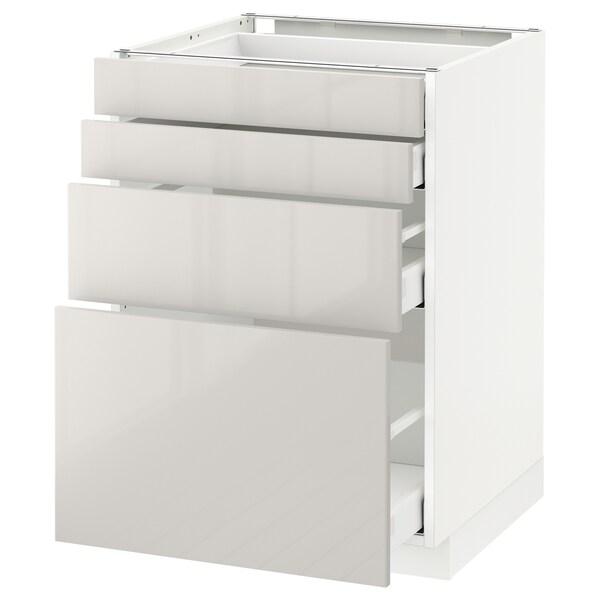 METOD / MAXIMERA armario bajo cocina con 4 cajones blanco/Ringhult gris claro 60.0 cm 61.8 cm 88.0 cm 60.0 cm 80.0 cm