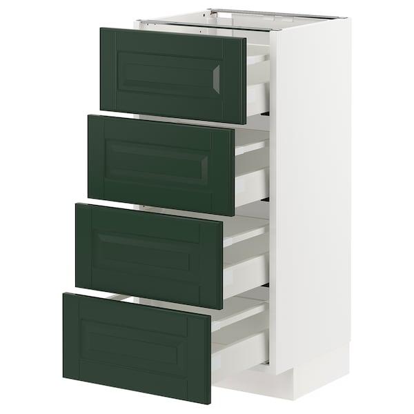 METOD / MAXIMERA armario bajo cocina con 4 cajones blanco/Bodbyn verde oscuro 40.0 cm 39.5 cm 88.0 cm 37.0 cm 80.0 cm