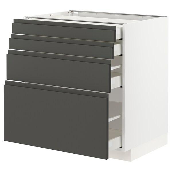 METOD / MAXIMERA armario bajo cocina con 4 cajones blanco/Voxtorp gris oscuro 80.0 cm 61.9 cm 88.0 cm 60.0 cm 80.0 cm