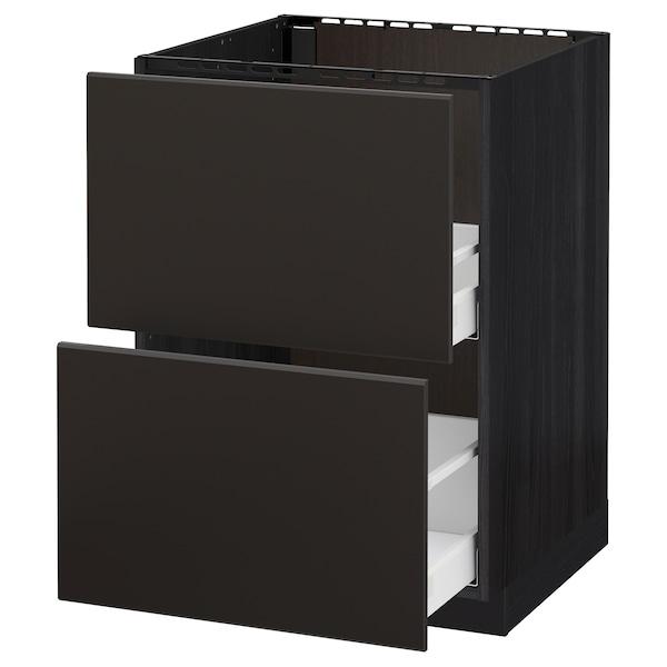METOD / MAXIMERA armario bajo fregadero 2 cajones negro/Kungsbacka antracita 60.0 cm 61.6 cm 88.0 cm 60.0 cm 80.0 cm