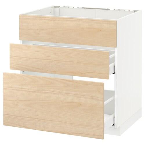 METOD / MAXIMERA armario bajo fregadero 2 cajones blanco/Askersund efecto fresno claro 80.0 cm 61.6 cm 88.0 cm 60.0 cm 80.0 cm