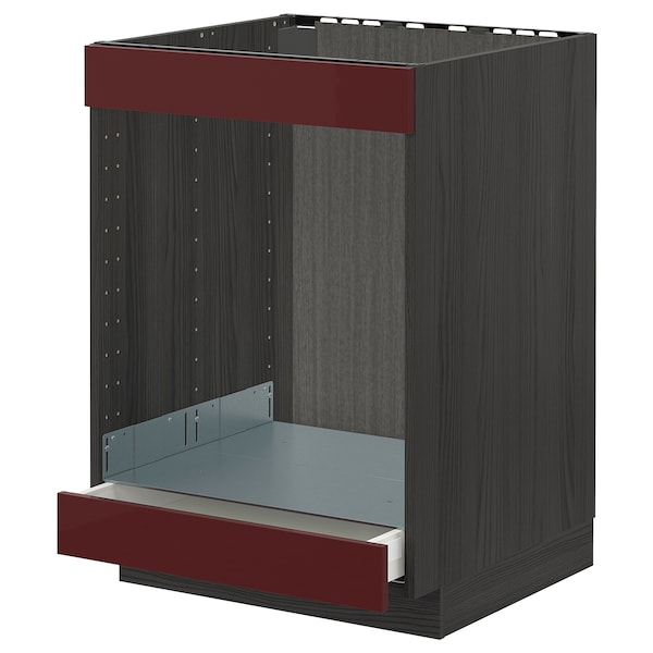 METOD / MAXIMERA armario bajo para placa y horno negro Kallarp/alto brillo marrón rojizo oscuro 60.0 cm 61.6 cm 88.0 cm 60.0 cm 80.0 cm
