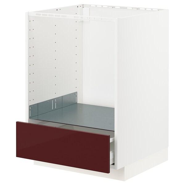 METOD / MAXIMERA armario bajo para horno con cajón blanco Kallarp/alto brillo marrón rojizo oscuro 60.0 cm 61.6 cm 88.0 cm 60.0 cm 80.0 cm