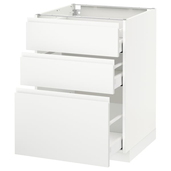 METOD / MAXIMERA armario bajo cocina con 3 cajones blanco/Voxtorp blanco mate 60.0 cm 62.1 cm 88.0 cm 60.0 cm 80.0 cm