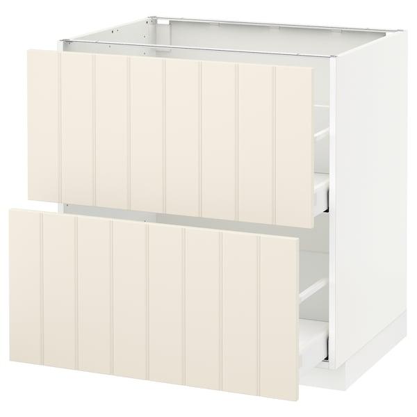 METOD / MAXIMERA armario bajo cocina 2 cajones blanco/Hittarp hueso 80.0 cm 61.8 cm 88.0 cm 60.0 cm 80.0 cm