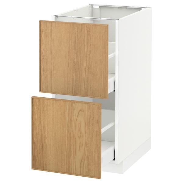 METOD / MAXIMERA armario bajo cocina 2 cajones blanco/Ekestad roble 40.0 cm 61.9 cm 88.0 cm 60.0 cm 80.0 cm