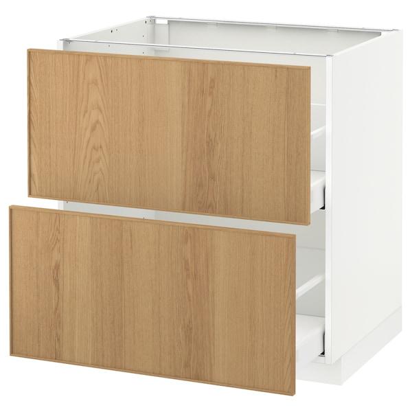 METOD / MAXIMERA armario bajo cocina 2 cajones blanco/Ekestad roble 80.0 cm 61.9 cm 88.0 cm 60.0 cm 80.0 cm